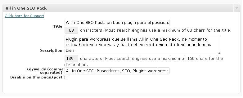 Posicionamiento All In One SEO