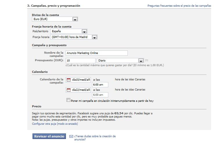 Coste anuncio facebook