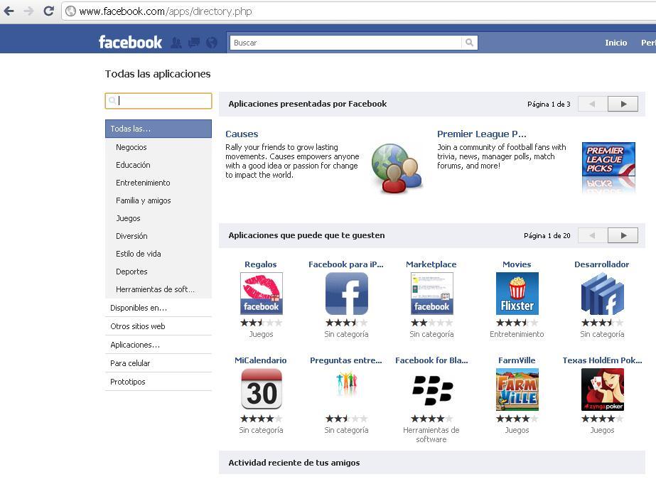 Aplicación Twitter facebook
