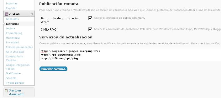 Ping en WordPress