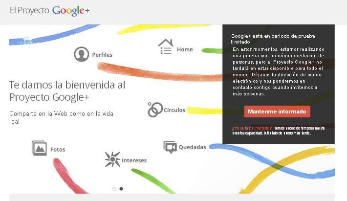 Invitacion para Google+