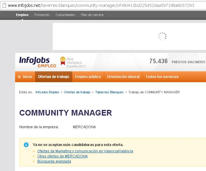 Oferta Community Manager Mercadona